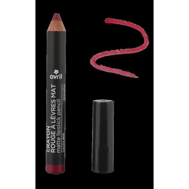 Crayon rouge à lèvres Mat grenadine Certifié bio  Avril cosmétique