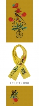 Foulard jaune original Lili Gambettes thème Colibri