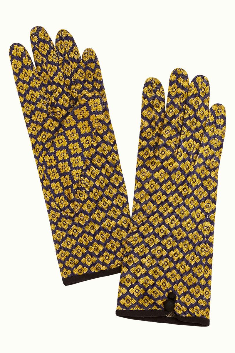 Gants femme à fleurs jaunes dorées King Louie Lunna