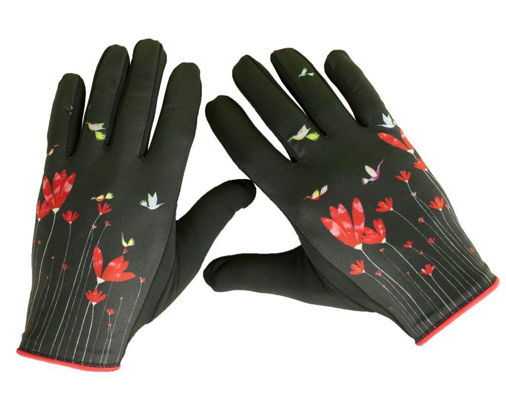 Gants originaux imprimés Fleurs rouges Lili Gambettes