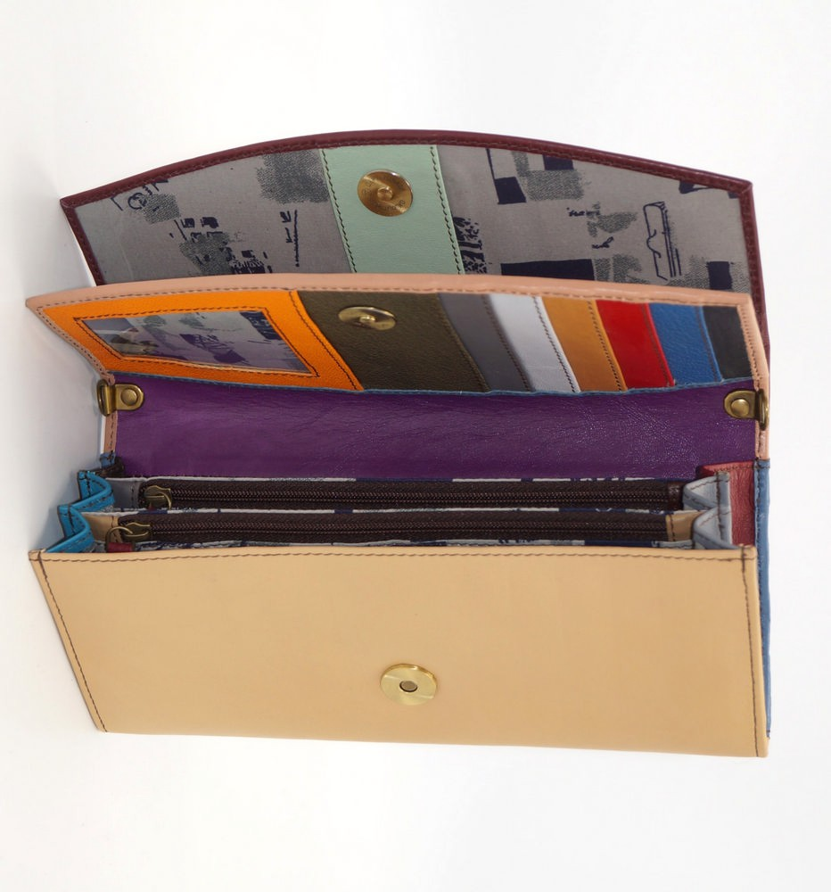 Grand portefeuille cuir / Compagnon / Pochette unique femme #13