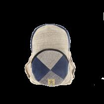 Grand sac à dos écologique et éthique pochette ronde bleue Bhangara