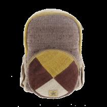 Grand sac à dos écologique et éthique pochette ronde marron et jaune Bhangara