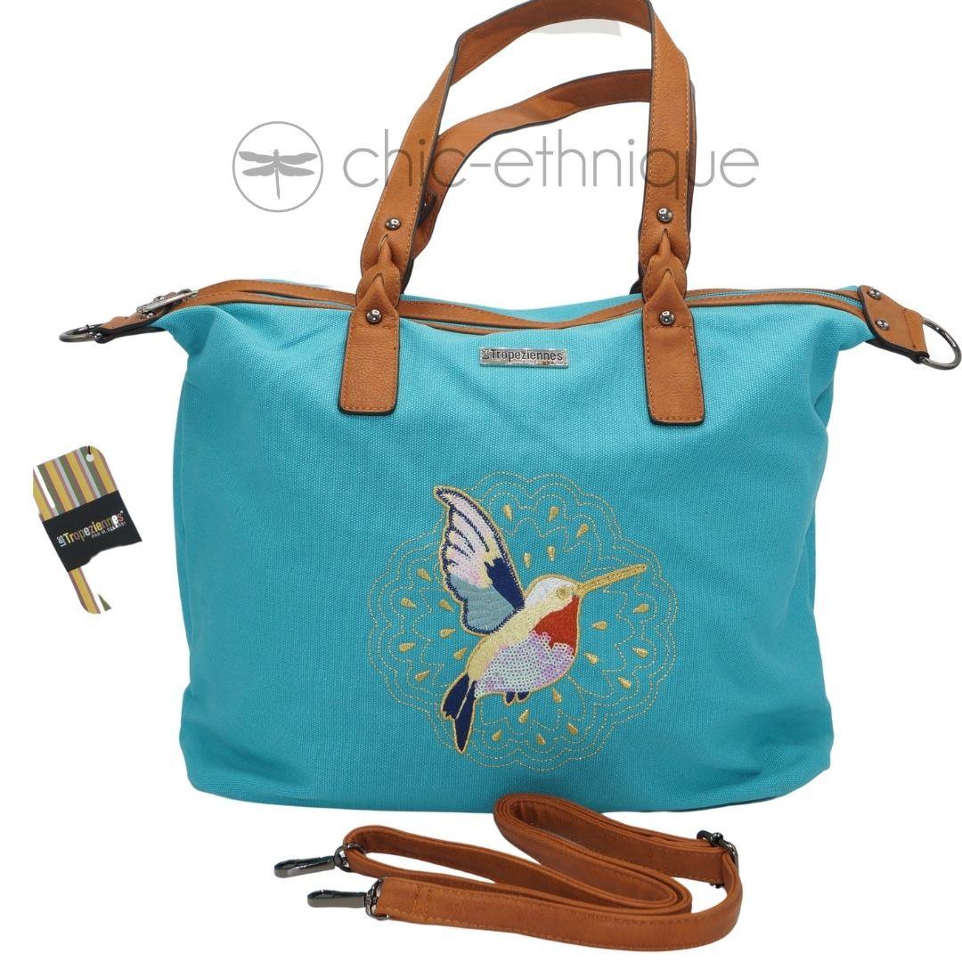 Grand sac bleu colibri les Tropéziennes