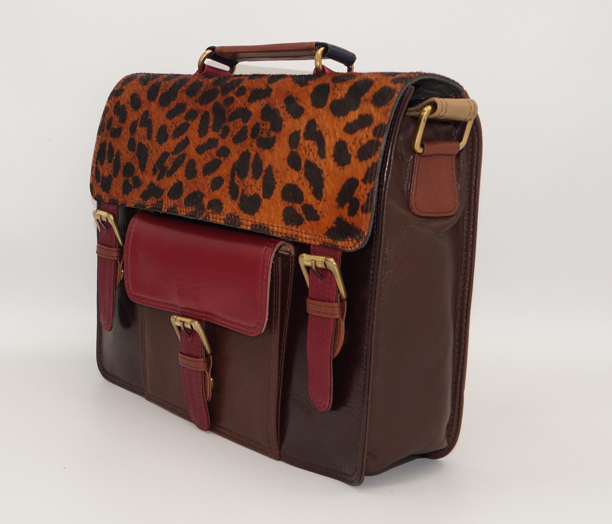 Grand sac forme cartable en cuir #12