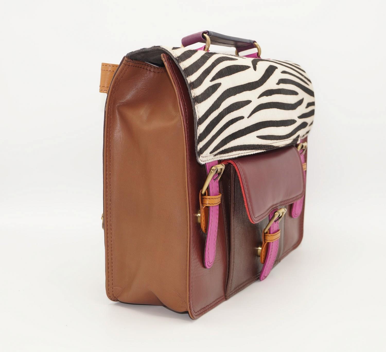 Grand sac forme cartable en cuir #16