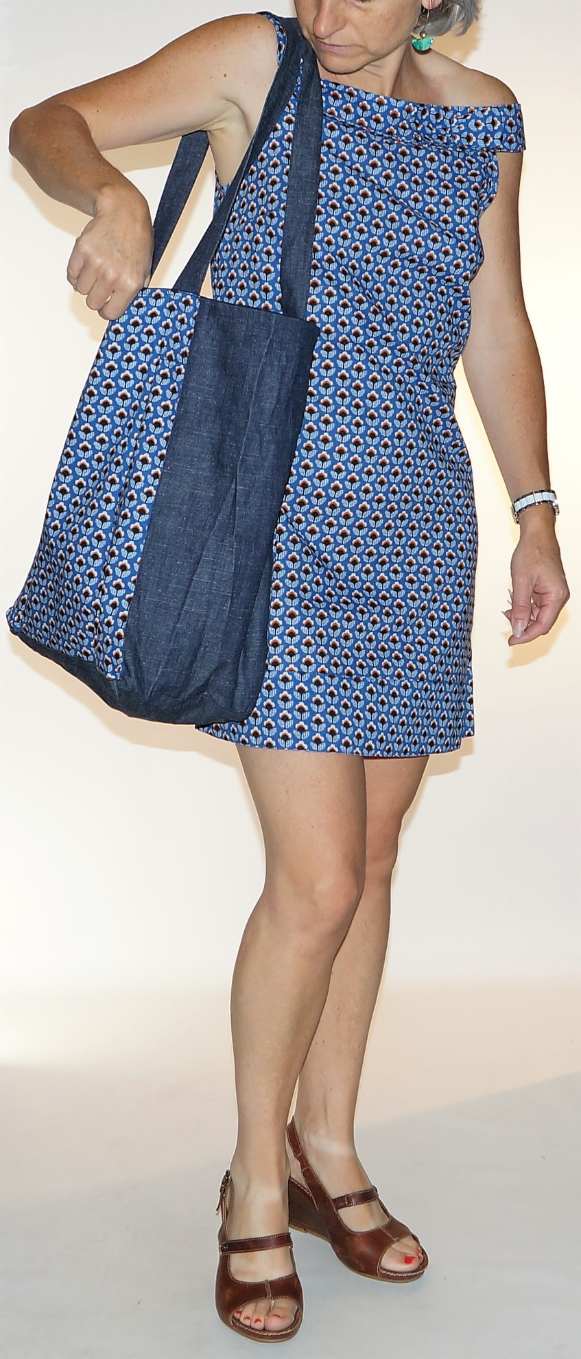 Grand sac shopping Imprimé Fleurs bleues Bla-Bla