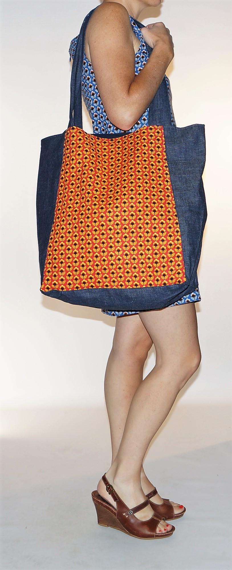 Grand sac shopping Imprimé Fleurs jaunes Bla-Bla