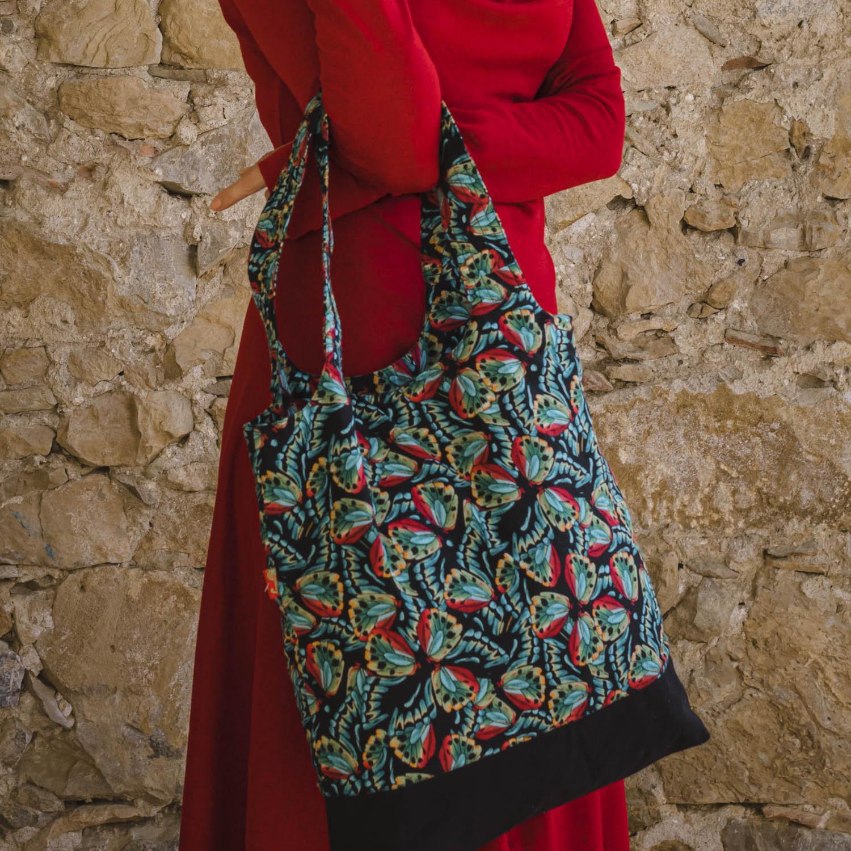 Grand sac shopping imprimé Lingam