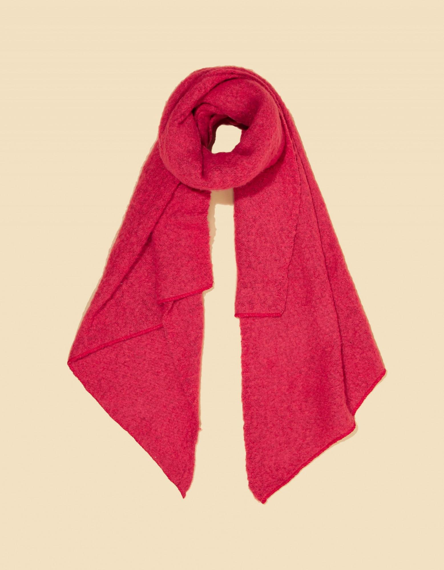 Grande écharpe rouge corail La Fiancée du Mékong, écharpe Zafi épaisse et douce