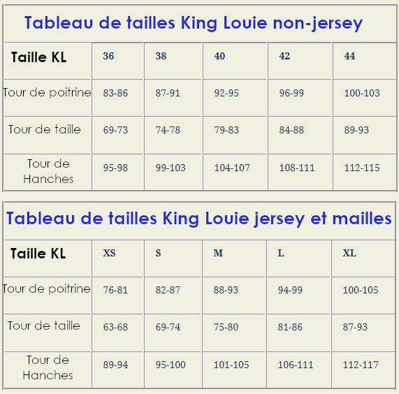 Guide des tailles King Louie et Mademoiselle Yéyé Chic Ethnique