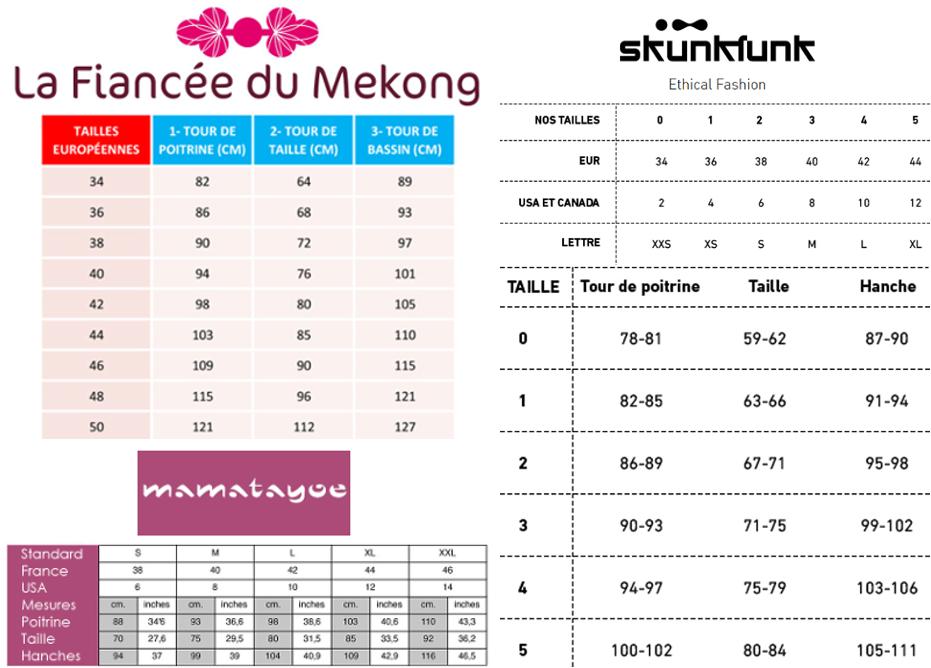 guide des tailles la fiancée du mekong mamatayoe et skunkfunk