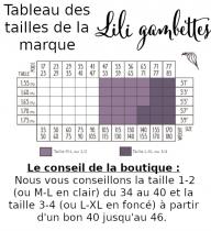 Guide des tailles Lili Gambettes collant fantaisie collant solide collant original