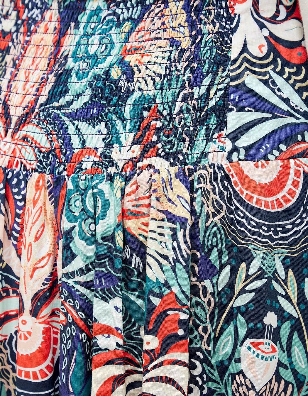 Jupe longue imprimée La Fiancée du Mékong, Narry marine