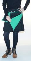 Jupe portefeuille noire réversible Moshiki D