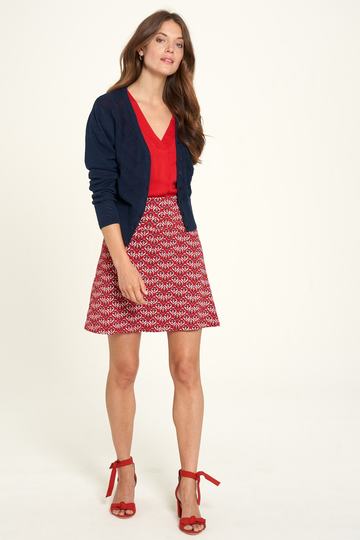 Jupe trapèze rouge en coton bio Tranquillo Camilla