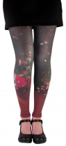 Leggings femme fantaisie noir et rouges Lili Gambettes dessiné