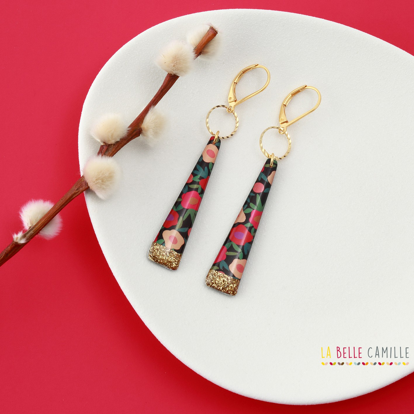 long and colorful Earring La Belle Camille Yoko Gold