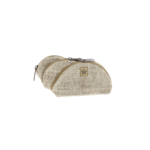 Lot de 3 petites pochettes crème en chanvre Bhangara