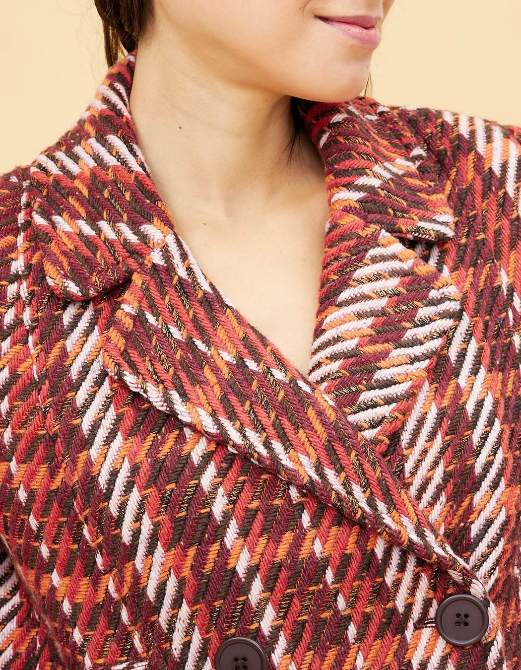 Manteau court en tweed La Fiancée du Mékong, Nais tweed sienne