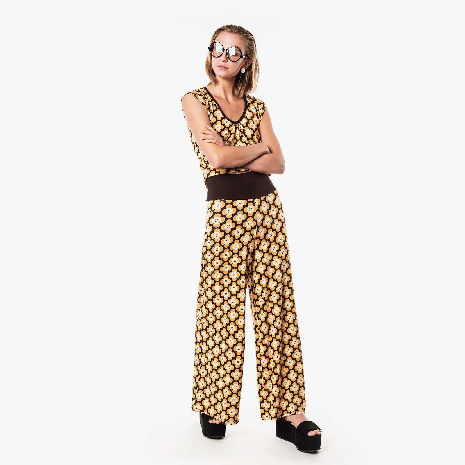 Pantalon Moshiki large et fluide jaune