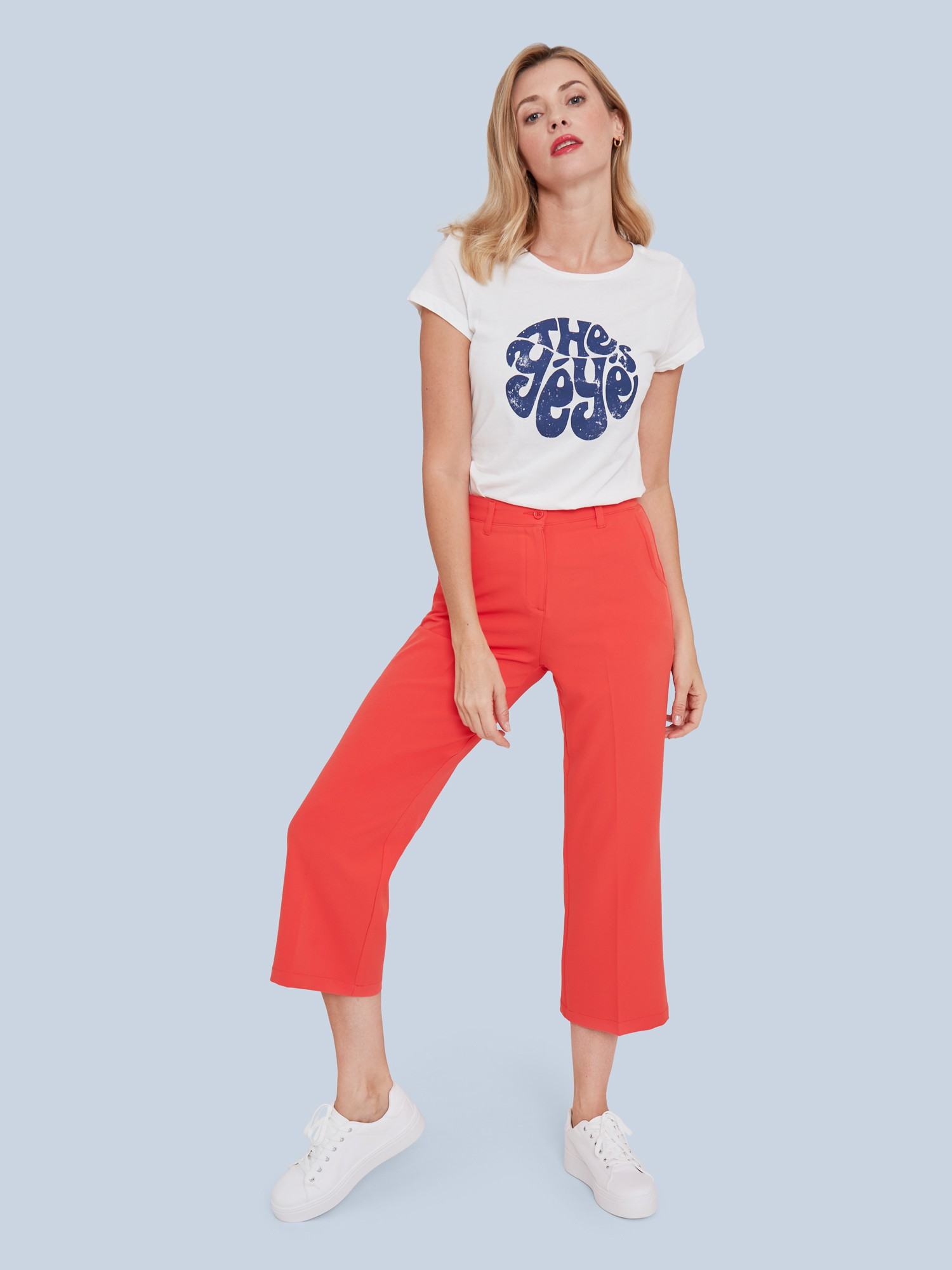 Pantalon rouge / orange uni Merci Merci Melle Yéyé