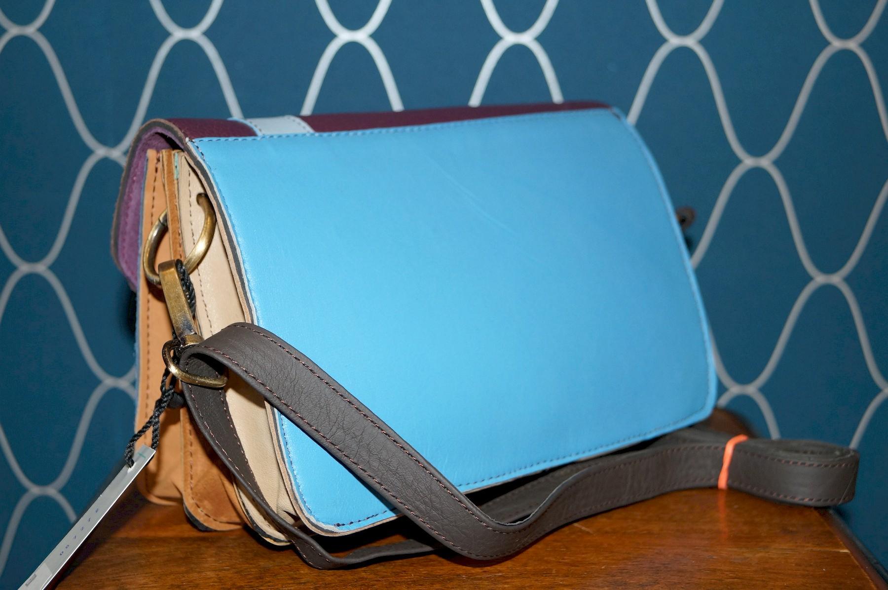 Petir sac à bandoulière bleu et bordeaux