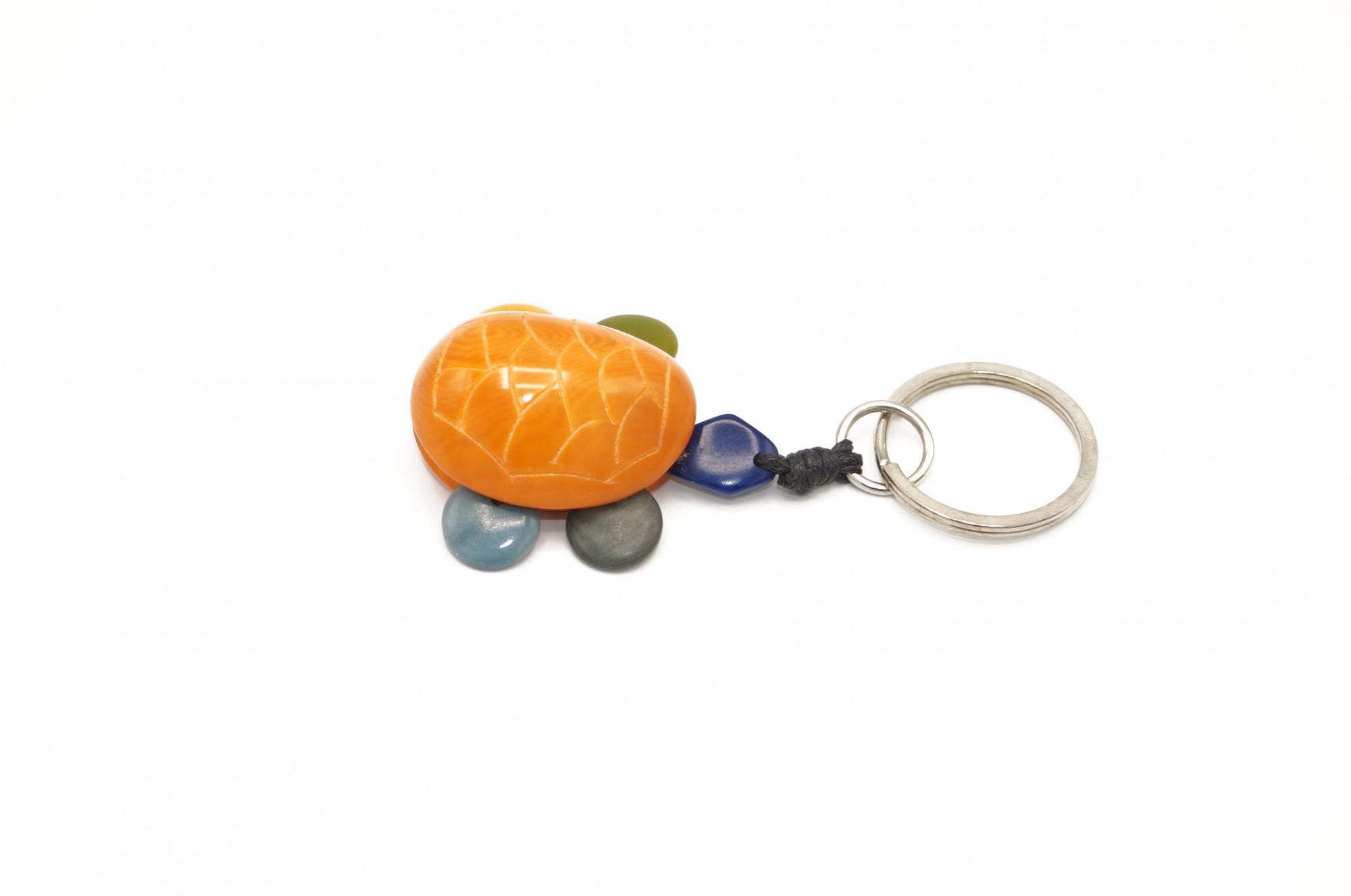 Porte clé Nodova Tortue en ivoire végétal orange