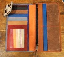 Porte monnaie en cuir bicolore marron et gris Soruka