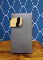 Porte monnaie en cuir bicolore marron foncé et gris Soruka