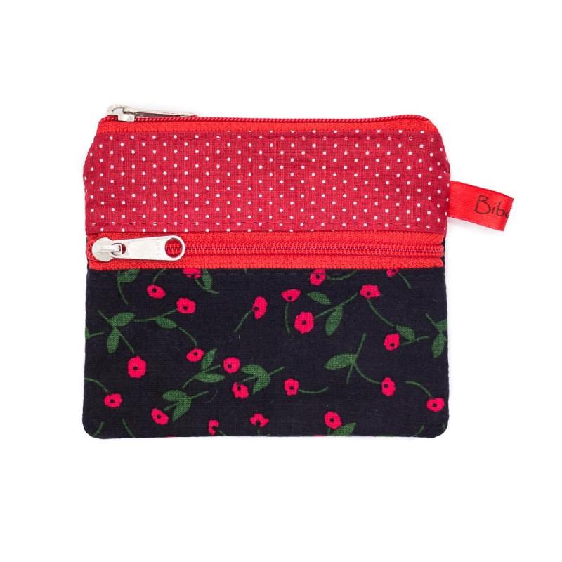 Porte monnaie original double zip noir et rouge Bibop & Lula 5