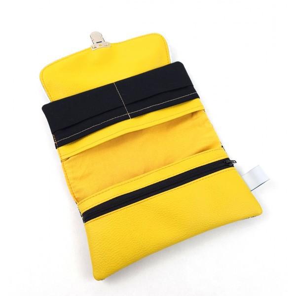 Portefeuille 3 en 1 Lila Bohème noir et moutarde
