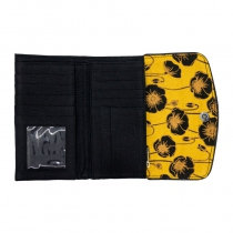 Portefeuille femme compact, jaune et noir Bibop et Lula