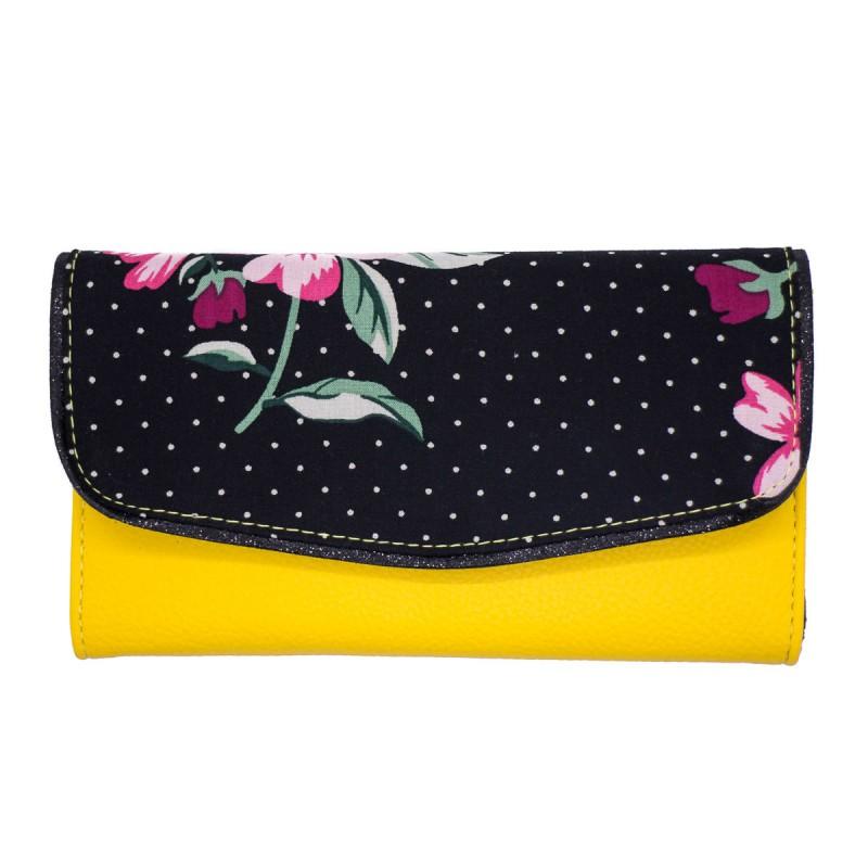 Portefeuille femme compact, jaune fleuri Bibop et Lula