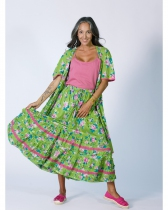 Rhum Raisin floral long skirt, Olive 34