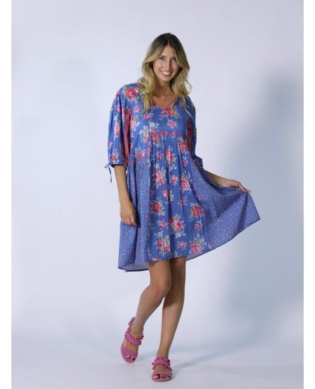 Robe bleue fleurie Rhum Raisin, Lavandou 69