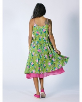 Robe été fleurie verte Rhum Raisin, Olive 112