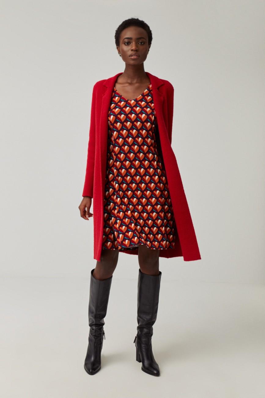 Robe évasée rouge Surkana
