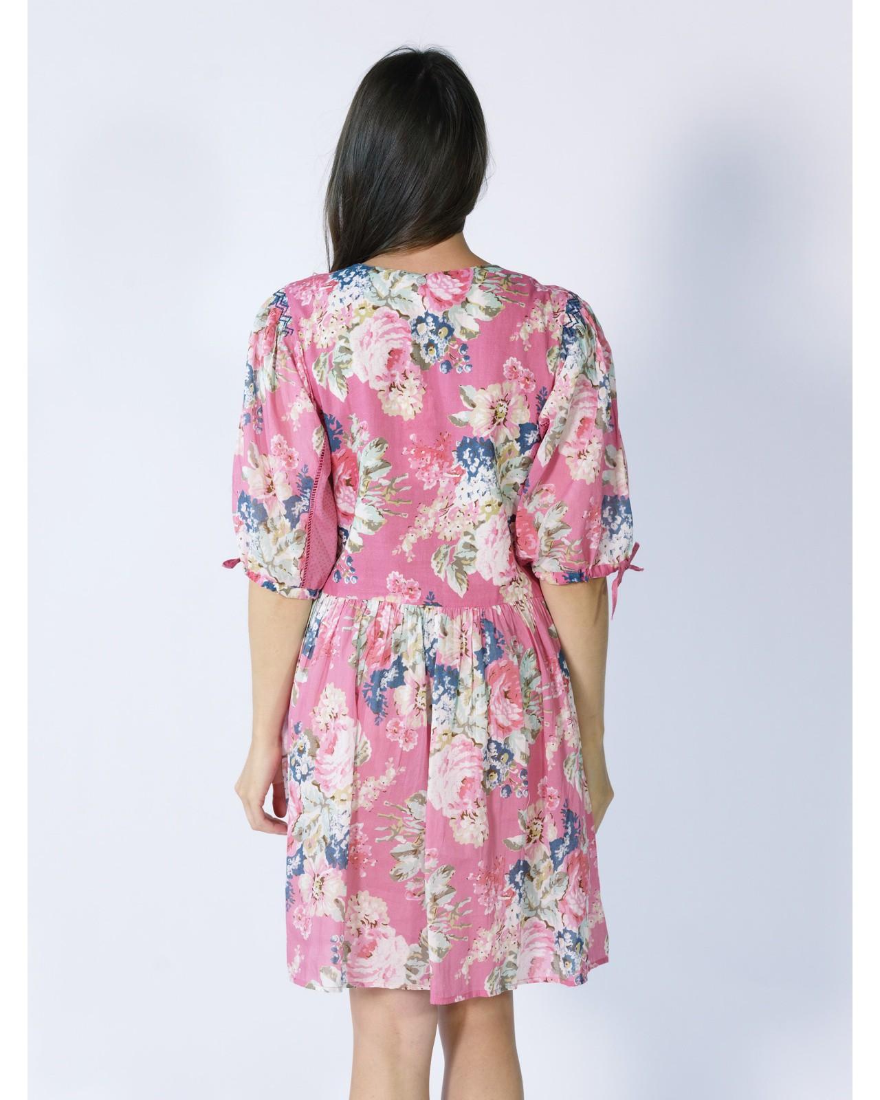 Robe rose fleurie Rhum Raisin, Valensole 69