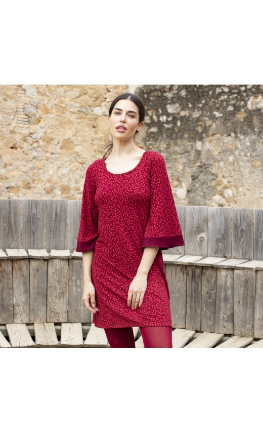 Robe rouge fluide Liric, robe imprimée Lingam