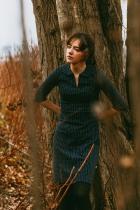 Robe trapèze coton bio bleu marine Froy & Dind, Milou