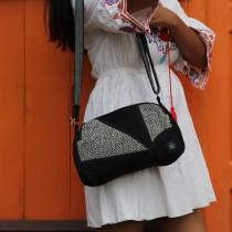 Sac à main noir en patchwork de chanvre, sac écologique et éthique  Bhangara