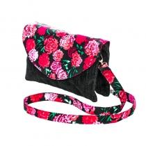 Sac double zip velours noir et fleuri Bibop et Lula