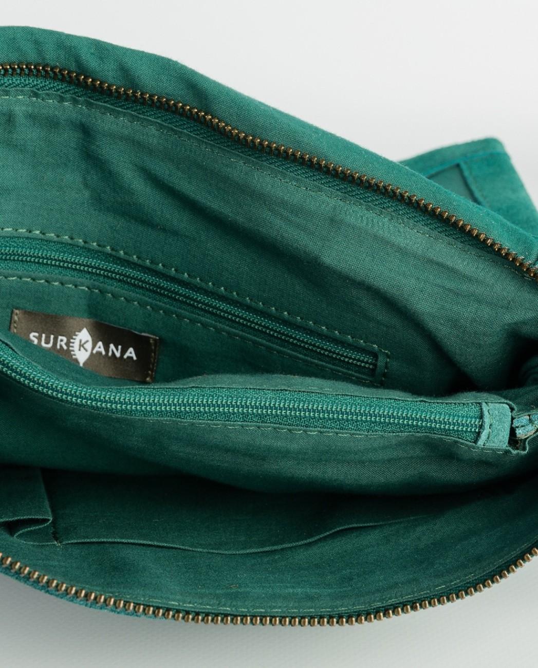 Sac en croûte de cuir vert Surkana