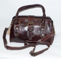 Sac rigide en cuir marron
