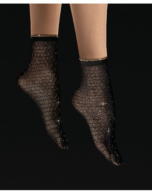 Socquette chic noire à paillettes dorées cousues  Sanpellegrino