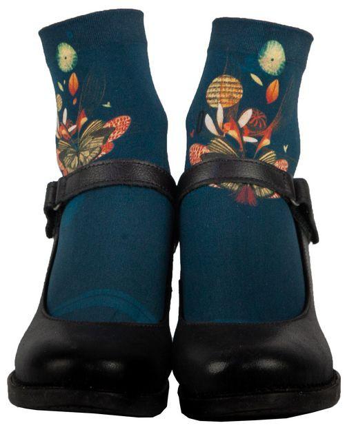 Socquette fantaisie bleu marine pour femme, Lili Gambettes Papillon