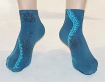Socquette fine femme bleue et tentacule Lili Gambettes