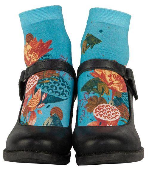 Socquettes fantaisies bleues et orangées Lili Gambettes pour femme