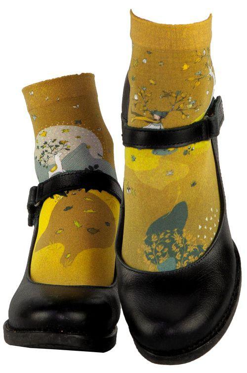 Socquettes femme dessinées jaune Lili Gambettes Artemis